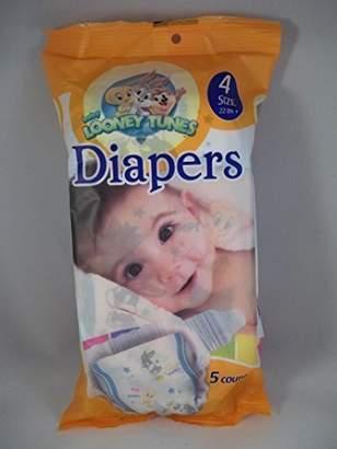 Looney Tunes Baby Size 4 Diapers (5 Count) Bugs Bunny Tweety Bird Licensed