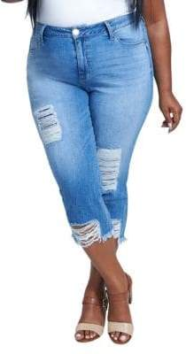 Seven7 Plus Distressed High-Rise Cropped Jeans