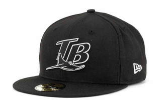 New Era Tampa Bay Rays Mlb Black and White Fashion 59FIFTY Cap