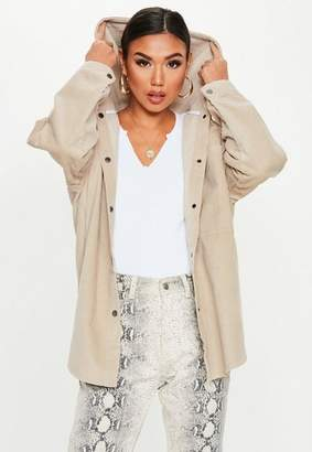 Missguided Sand Cord Hooded Button Jacket