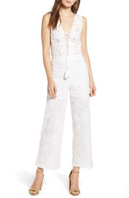 Kas Lace-Up Front Eyelet Jumpsuit