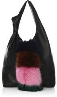 Loeffler Randall Knot Fox Fur& Leather Hobo Bag
