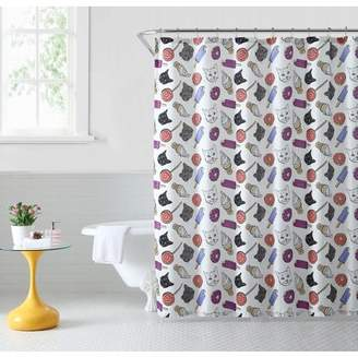 Junk Food Clothing Oh Hello, Shower Curtain, Cat & Junkfood, 72x72