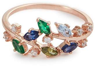 Anabela Chan 'Ivy' emerald sapphire peridot 9k rose gold ring