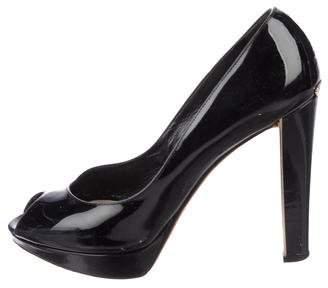 Christian Dior Peep-Toe Patent Leather Pumps