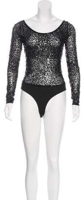 DKNY Embellished Long Sleeve Bodysuit