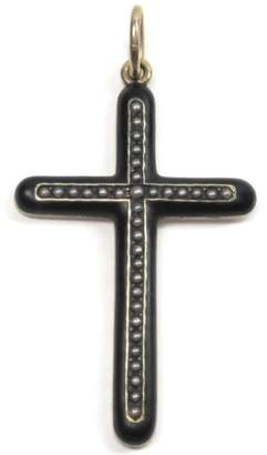 14K Yellow Gold & Enamel Seed Pearl Victorian Cross Pendant