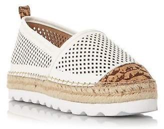 Dune Ladies GEORGINA Perforated White Sole Slip On Shoe in White