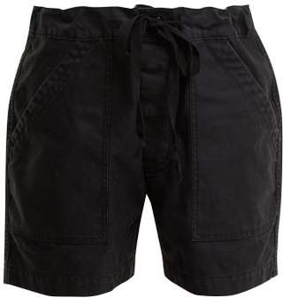 Chimala - Tie Waist Patch Pocket Cotton Twill Shorts - Womens - Black