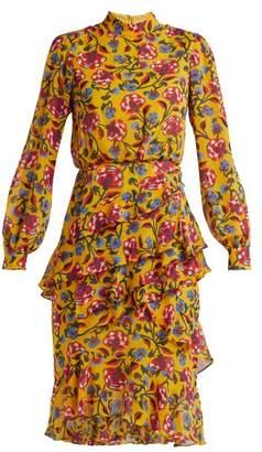 Saloni Isa Floral Print Silk Dress - Womens - Yellow Multi