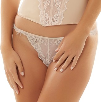 Jezebel Caress Too Sheer Lace Thong Panty 50533
