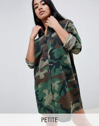 Missguided Petite Camo Shirt Dress
