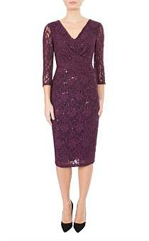 Anthea Crawford Plum Sequin Lace Dress