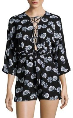 Floral-Print Three-Fourth-Sleeve Jumpsuit $84 thestylecure.com