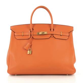 Hermes Birkin 40 Orange Leather Handbag