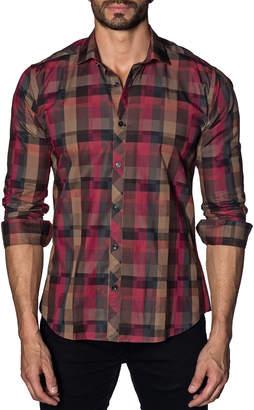 Jared Lang Men's Semi-Fitted Digitalized-Plaid Sport Shirt