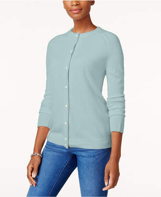 Karen Scott Luxsoft Crew-Neck Cardigan
