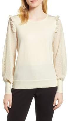 CeCe Swiss Dot Sleeve Sweater