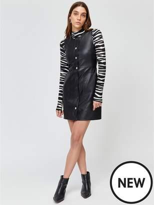 Warehouse Pocket Detail Pu Dress