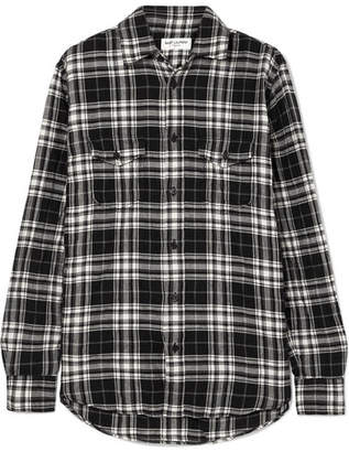 Saint Laurent Checked Crinkled Cotton-flannel Shirt - Black