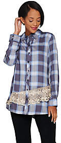 LOGO by Lori Goldstein Button Front Plaid Shirtwith Lace Trim