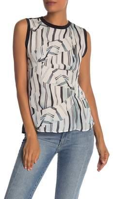 Nicole Miller Front Print Back Zip Silk Tank Top