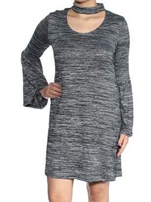 Kensie Women's Drapey Space Dye Dress with Bell Sleeve