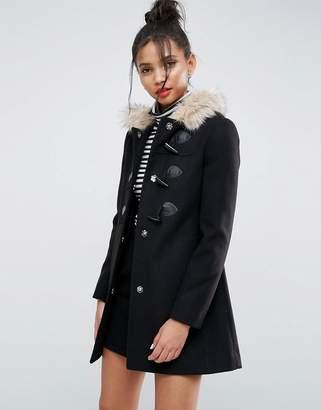 Asos Design Duffle Coat with Faux Fur Hood