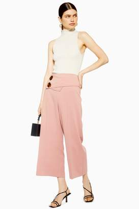 Topshop Womens Button Crop Wide Leg Trousers - Blush