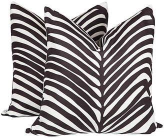 One Kings Lane Vintage Schumacher Zebra Palm Pillows - Set of 2 - Ivy and Vine