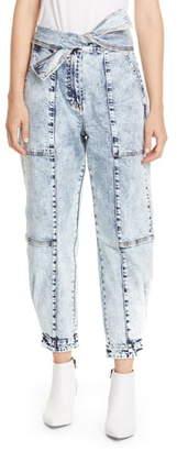 Ulla Johnson Storm Tie Waist Tapered Acid Wash Jeans