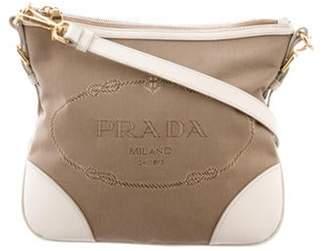 Prada Leather-Trimmed Canapa Crossbody Bag brown Leather-Trimmed Canapa Crossbody Bag