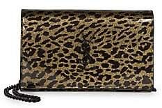 Saint Laurent Women's Monogram Leopard-Print Patent Leather Wallet-On-Chain