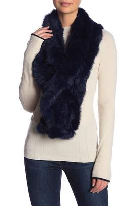 Surell Genuine Rabbit Fur Ruffle Scarf