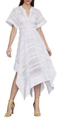 BCBGMAXAZRIA Striped Dot Lace Asymmetric Dress