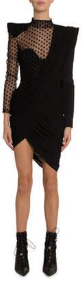 Balmain Asymmetric Draped Swiss-Dotted Dress