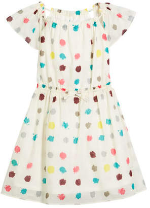 Burberry Maria Dot-Print Drawstring-Waist Dress, Size 4-14