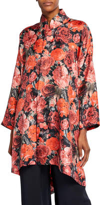 eskandar Wide Mandarin-Collar Rose-Print Shirt