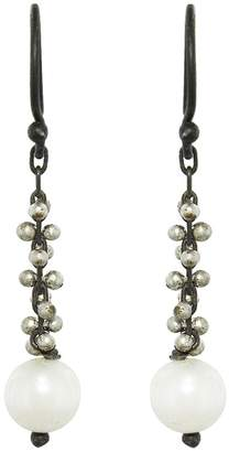 Ten Thousand Things White Pearl And Silver Beaded Cluster Earrings