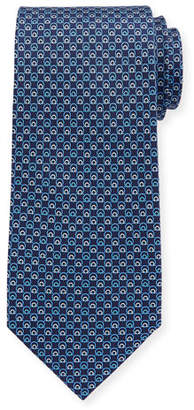 Salvatore Ferragamo Interlocking Gancini Silk Tie, Dark Blue