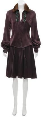 Andrew Gn Mink Fur-Trimmed Embellished Skirt Suit