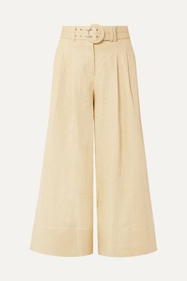 Nicholas Belted Cropped Linen Culottes - Beige
