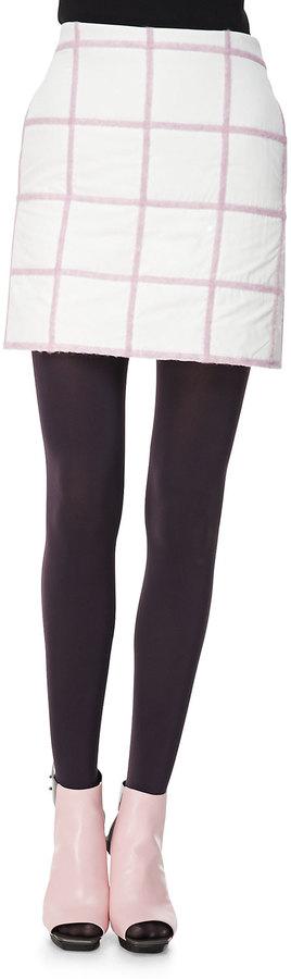 3.1 Phillip Lim Grid Miniskirt, White/Pink