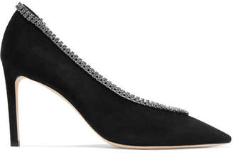 Lilian 85 Crystal-embellished Suede Pumps - Black