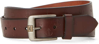 Tommy Bahama Burgundy Embossed Anchor Leather Belt