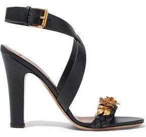 Valentino Metallic Floral-Appliquéd Leather Sandals