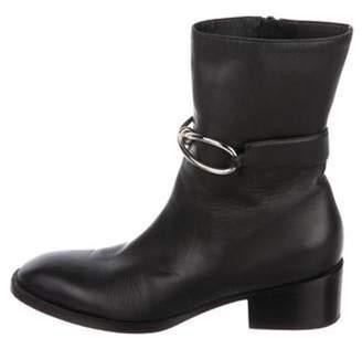 Balenciaga Leather Round-Toe Mid-Calf Boots Black Leather Round-Toe Mid-Calf Boots