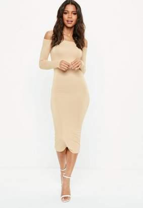 Missguided Nude Long Sleeve Bardot Bodycon Midi Dress, Beige