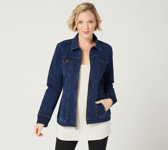 Denim & Co. Comfy Knit Denim Zip-Front Jean Jacket