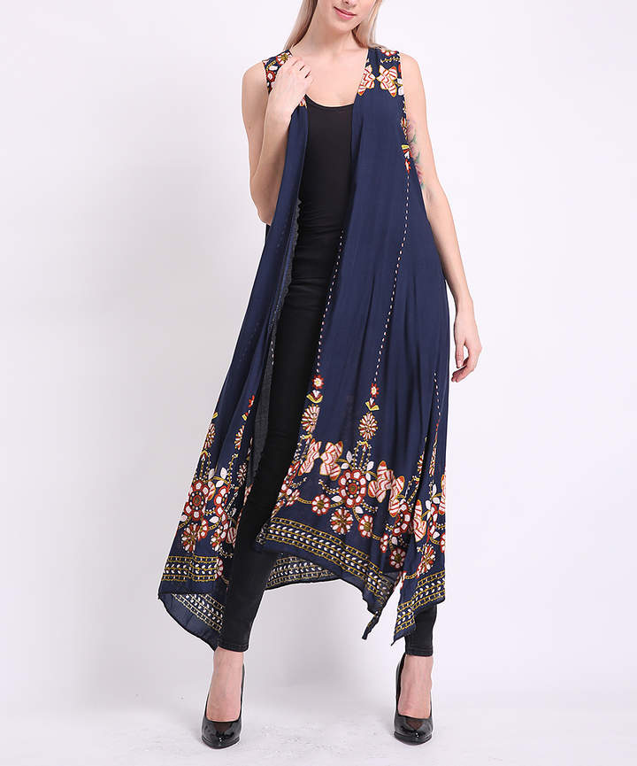 Navy & Red Floral Sleeveless Duster - Juniors